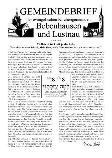 Vielleicht ist Gott ja doch da - Evangelische Kirche Bebenhausen