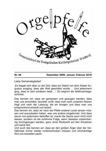 Nr. 64 Dezember 2009, Januar, Februar 2010 Liebe Gemeindeglieder!