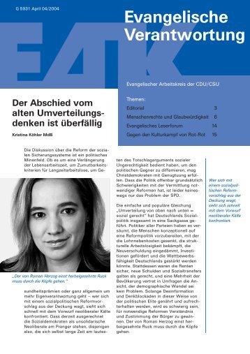 Heft 4/2004 - Evangelischer Arbeitskreis der CDU/CSU