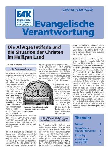 Heft 7-8/2001 - Evangelischer Arbeitskreis der CDU/CSU