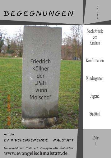 Gemeindebrief 1-12 - evangelische Kirchengemeinde Malstatt