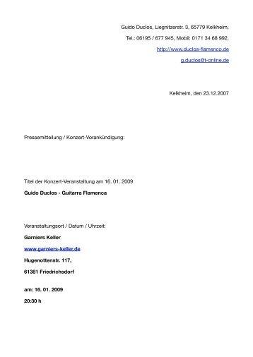 Pressemitteilung Garniers Keller - event verteiler .de