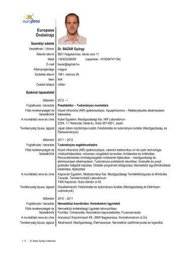 Utónév Dr. BÁZÁR György