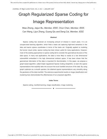 Graph Regularized Sparse Coding for Image Representation