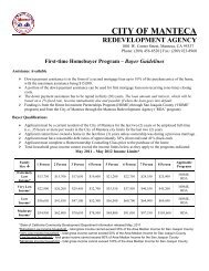 First-time Homebuyer Program – Buyer Guidelines - City of Manteca