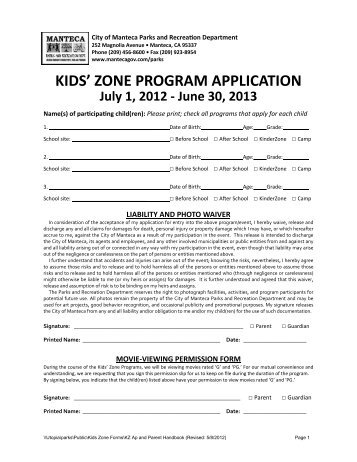 Kids' zone program application - City of Manteca