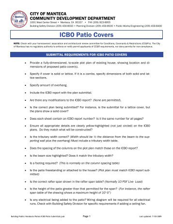 ICBO Patio Covers - City of Manteca