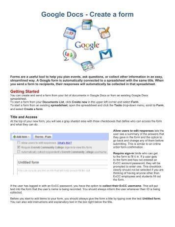 Google Docs - Create a form