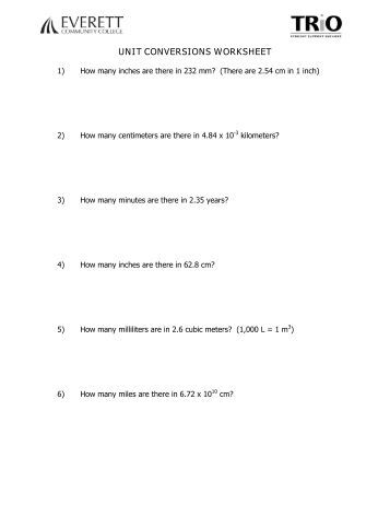 Printables Unit Conversion Worksheet Chemistry physical science dimensional analysis unit conversion worksheet conversions everett community college