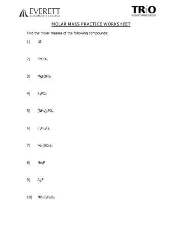 Printables Molar Mass Worksheet molecular weight worksheet davezan percent composition by mass chapter 8 mass