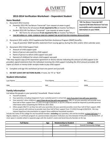 Printables Verification Worksheet Dependent Student dependent student verification form v5 delaware technical 2013 2014 worksheet everett