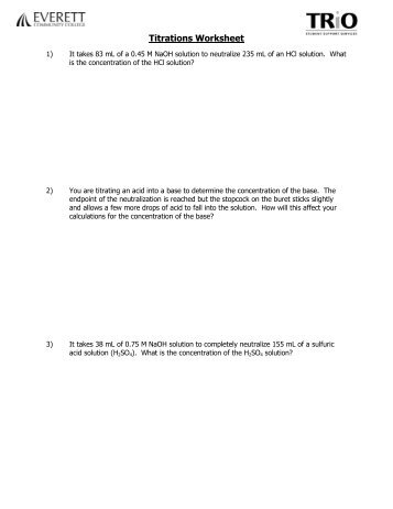 Titrations Practice Worksheet