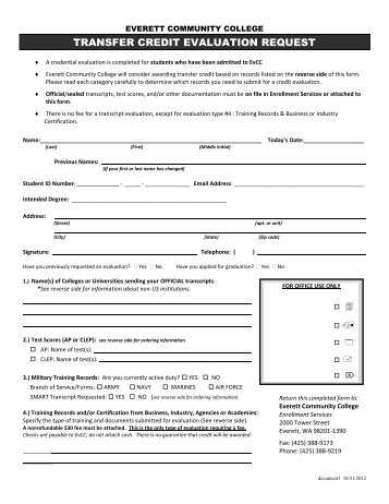 Transfer Credit Request Form - Red River College