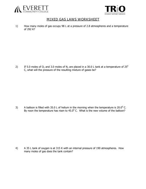Mixed Gas Laws Worksheet - Everett Community College