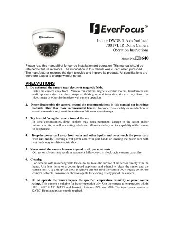 Indoor DWDR 3-Axis Varifocal 700TVL IR Dome ... - Everfocus