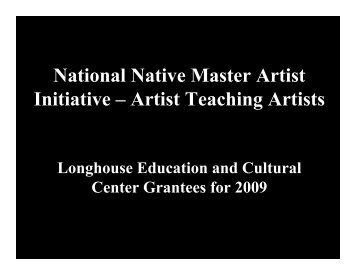 National Native Master Artist Initiative – Artist Teaching Artists