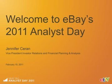 """Welcome to eBay""""s 2011 Analyst Day - Corporate Solutions"""