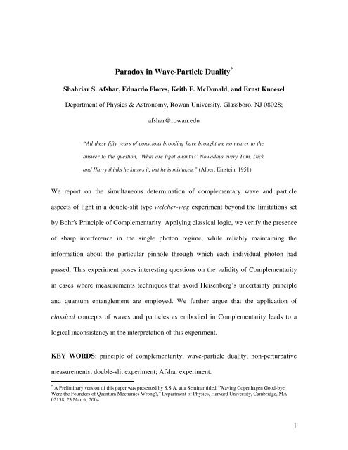 Paradox in Wave-Particle Duality - Evernote