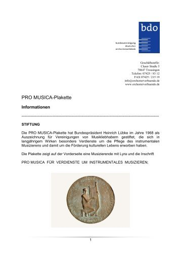 PRO Musica-Plakette