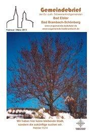 Gemeindebrief Februar - März 2013 - Ev. luth. Kirchgemeinde Bad ...