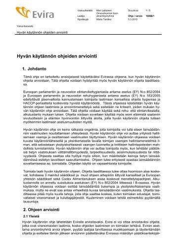 Hyvän käytännön ohjeiden arviointi - Evira