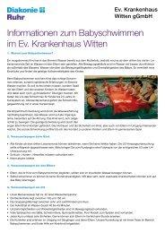 Informationen zum Babyschwimmen im Ev. Krankenhaus Witten