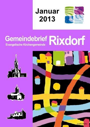 Januar 2013 Gemeindebrief - Ev. Kirchengemeinde Rixdorf