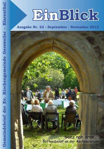 + EinBlick September 2012 - Evangelische Kirche Saar
