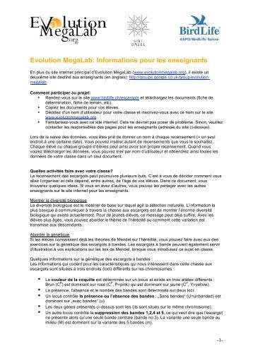 Evolution MegaLab: Informations pour les enseignants