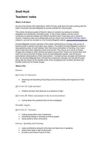 KS1 Snail Hunt Teacher Notes - Evolution MegaLab