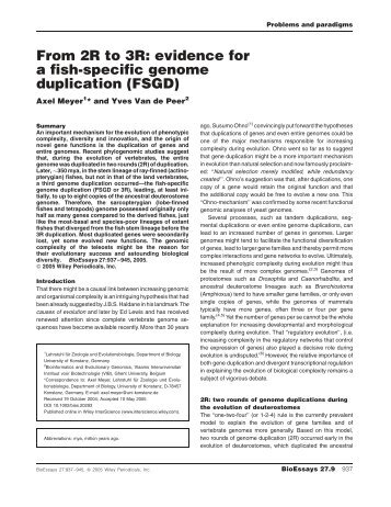 From 2R to 3R: evidence for a fish-specific genome duplication ...