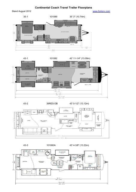 Continental Coach Travel Trailer Floorplans