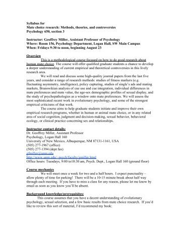 Syllabus for Mate choice research: Methods, theories, and ...