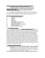 Syllabus for Evolution, Brain, and Behavior: Evolutionary ...