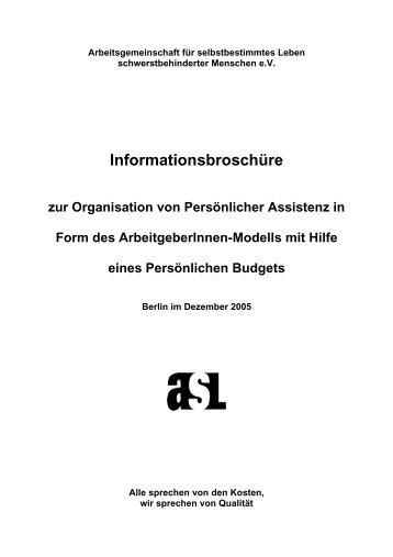 Informationsbroschüre zur Organisation von Persönlicher ... - asl