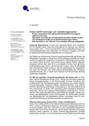 Evotec strafft Forschungs- und -entwicklungsprozesse