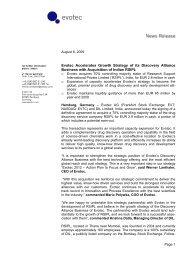Evotec Accelerates Growth Strategy (pdf - 50,85 kB)