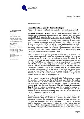 PerkinElmer to Acquire Evotec Technologies