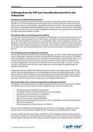 Stellungnahme der EVP zum Sexualkundeunterricht ... - EVP Thurgau