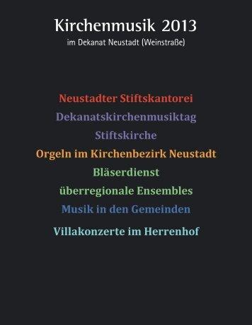 Kirchenmusik 2013 - Evangelische Kirche der Pfalz