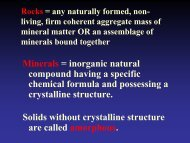 Minerals = inorganic natural compound having a specific chemical ...