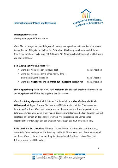Widerspruchverfahren (PDF, 324kB) - Evangelische Sozialstation ...
