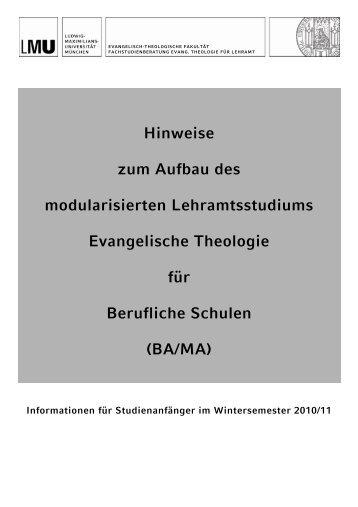 (BA/MA) (Studienbeginn SoSe 11) - Evangelisch-Theologische ...