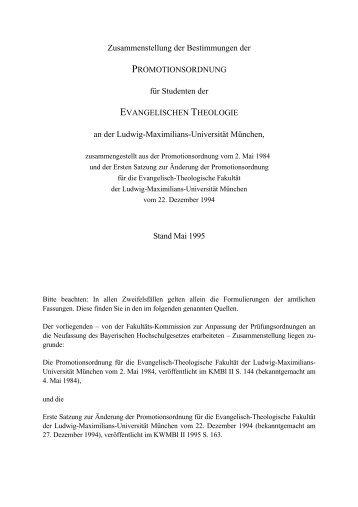 Promotionsordnung der Fakultät (ohne 2. Änderungssatzung)