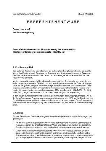 Entwurf eines Gesetzes zur Modernisierung des Kostenrechts