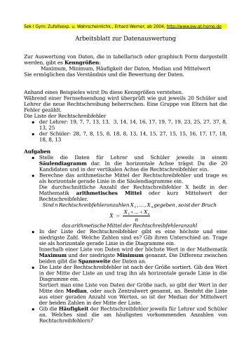 Arbeitsblatt Mittelwert am Gymnasium Klasse 8 - Erhard Werner zu ...