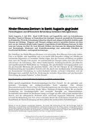 Gründung Kinderrheumazentrum - Asklepios Kinderklinik Sankt ...