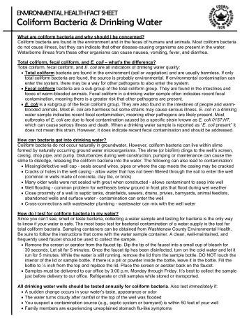 Coliform Bacteria Fact Sheet - Washtenaw County