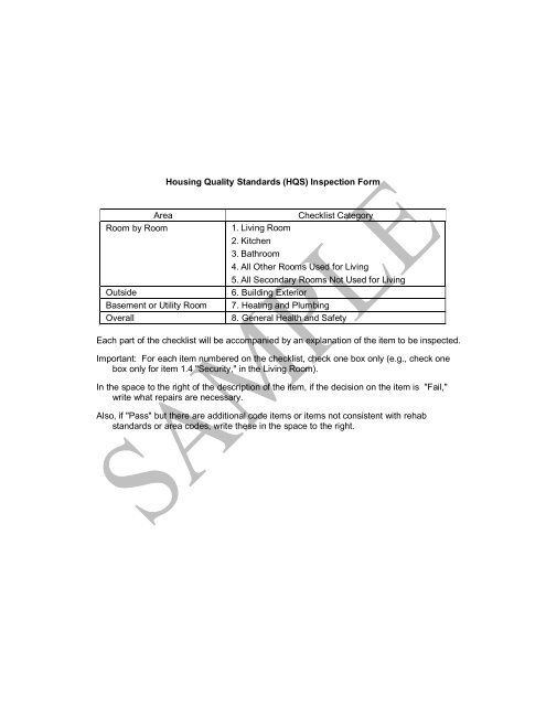 Housing Quality Standards (HQS) Inspection Form Area