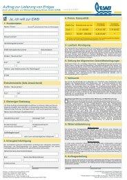 Auftrag zur Lieferung von Erdgas Ja, ich will zur EWB - Energie- und ...